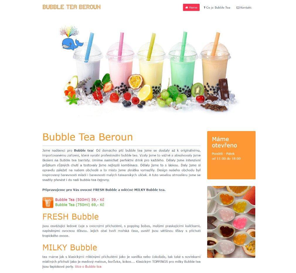 Webové stránky Bubble Tea Beroun