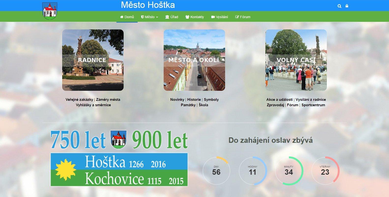 Redesign a upgrade webu Města Hoštka