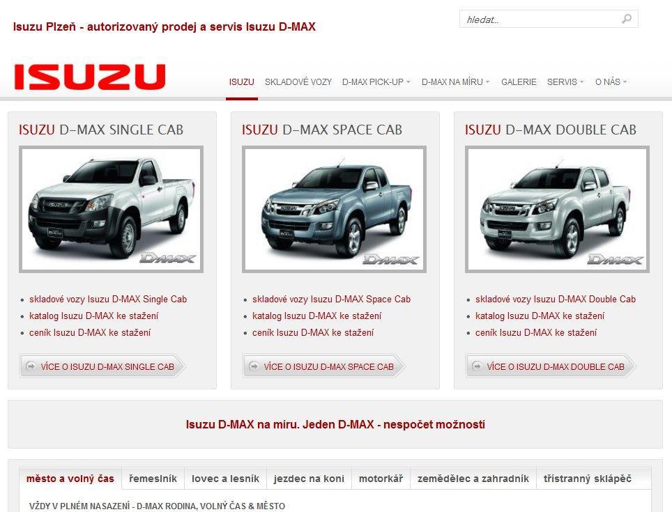 Webové stránky Isuzu Plzeň