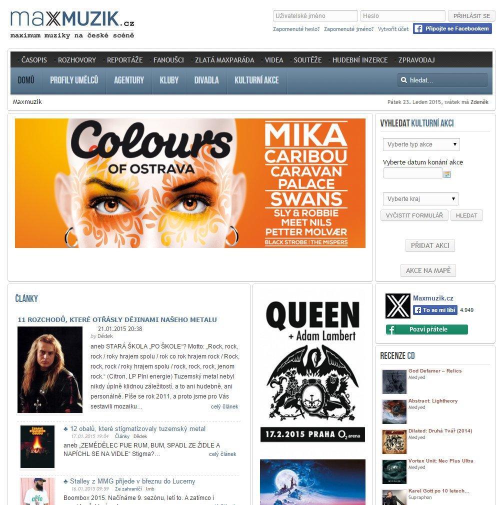 Webový hudební server Maxmuzik.cz