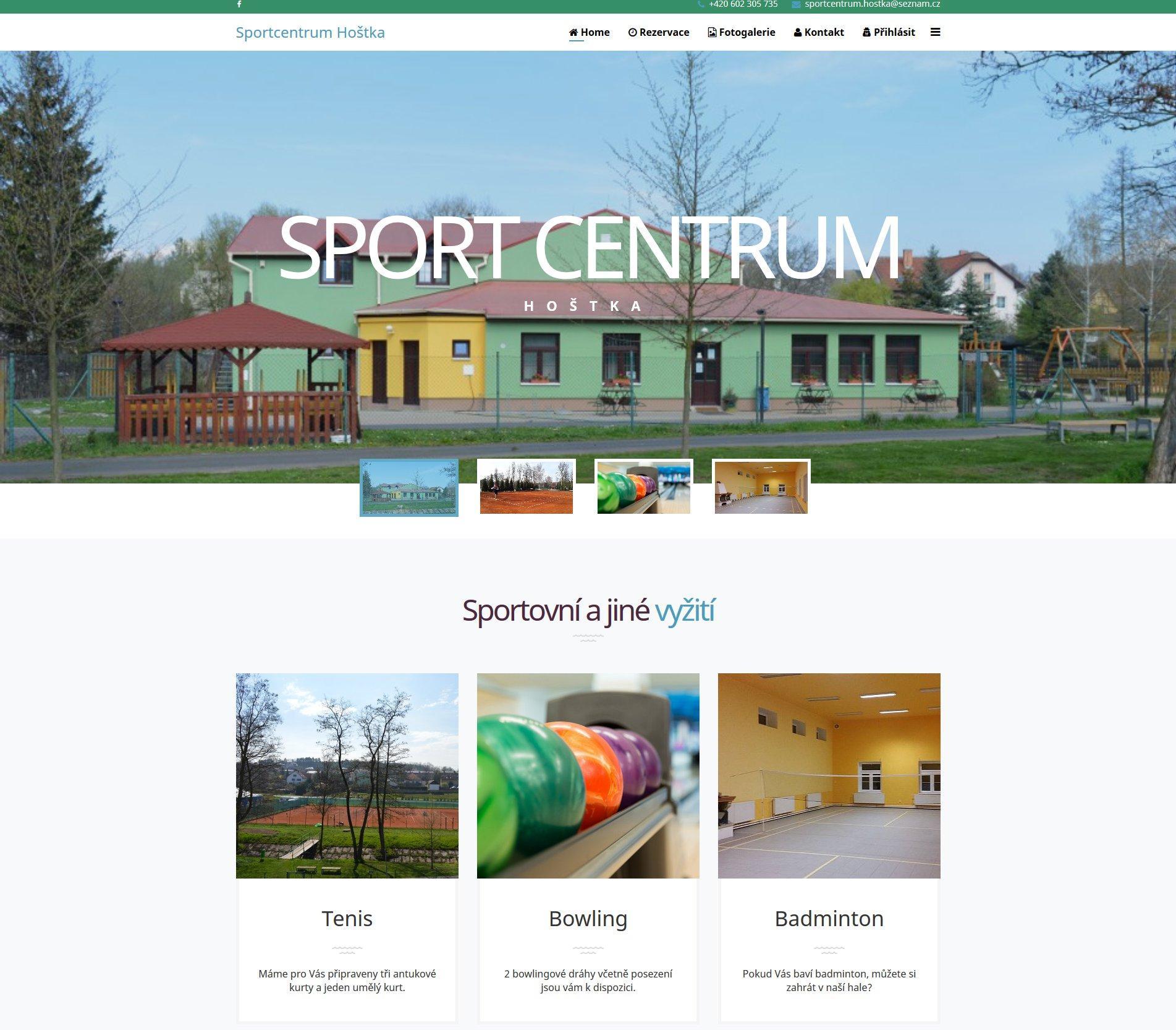 Web Sport centra v Hoštce